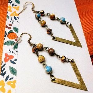 Brass and Jasper Drop Earrings
